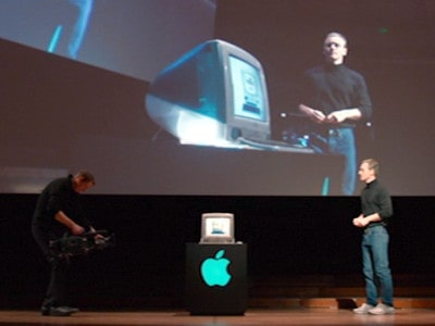 Steve jobs announcing the first colorful imac G3's