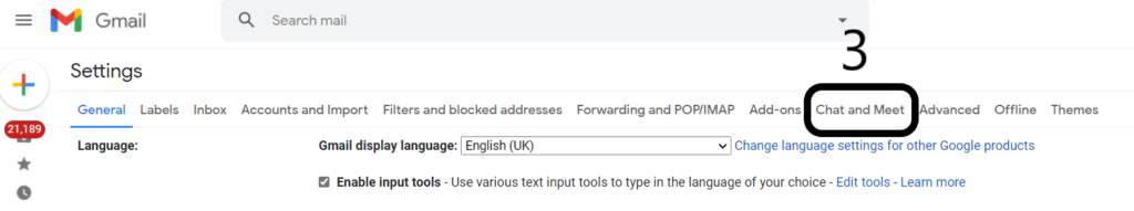 Enable the Chat and Meet option in settings