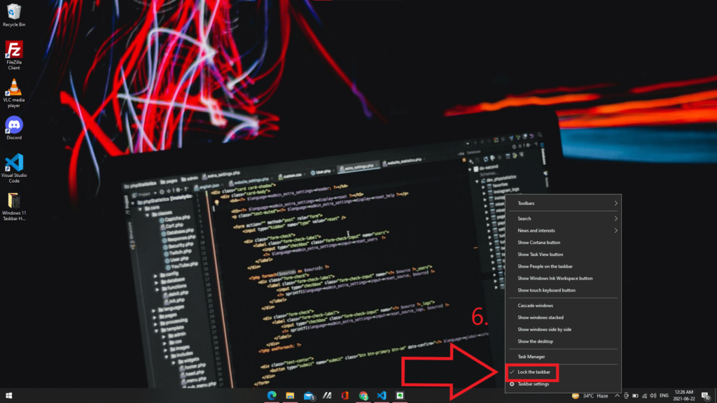 Lock the taskbar again once the icons are aligned to the center